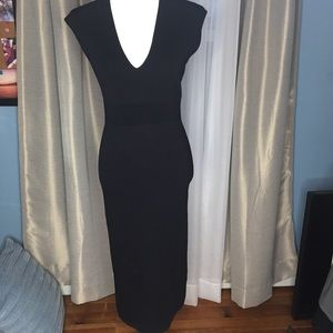MichaelKors Black Knit VNeck Sleeveless Midi Dress